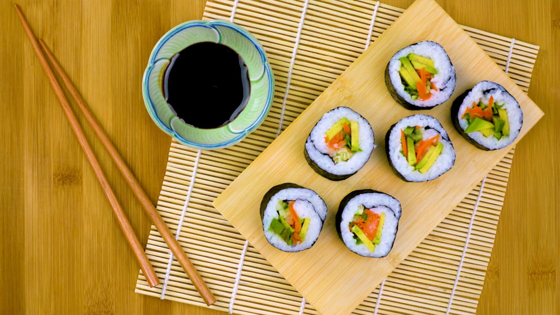 Quick-Pickled Vegetable Sushi Rolls with Avocado