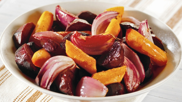 Roasted Carrots, Beets, and Red Onion Wedges