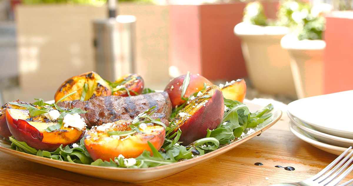 Seared Beef Sirloin and Grilled Peaches