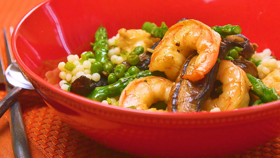 Shrimp Mushrooms and Asparagus Stir Fry with Couscous