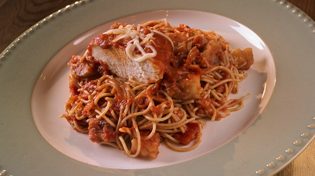 Slow Cooker Chicken Parmesan with Eggplant and Angel Hair Pasta