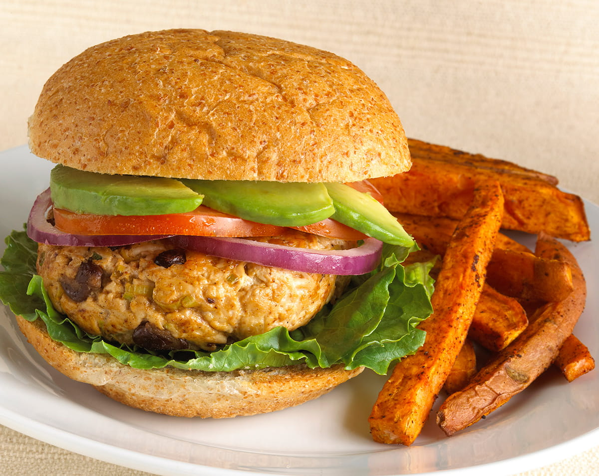 Southwest Turkey Burger and Sweet Potato Fries