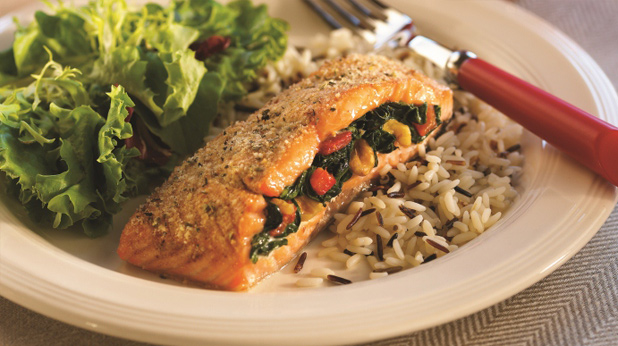Spinach Stuffed Baked Salmon
