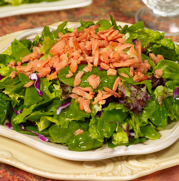 Spring Greens with Salmon and Apricot Ginger Vinaigrette