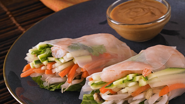 Spring Vegetable Rolls with Shrimp