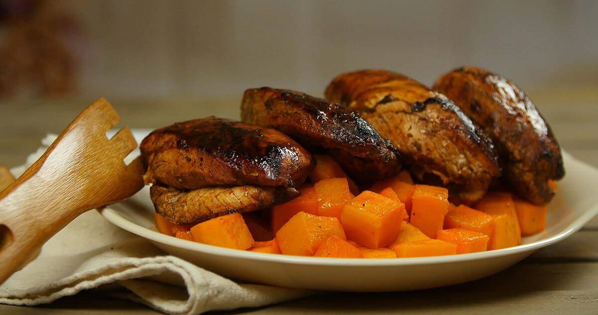 Sriracha Glazed Chicken with Paprika Butternut Squash