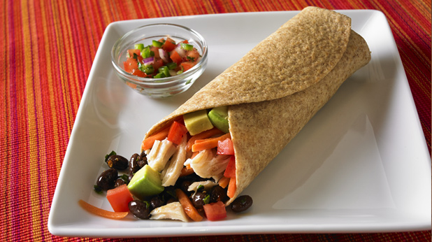 Tex-Mex Black Bean and Chicken Wrap