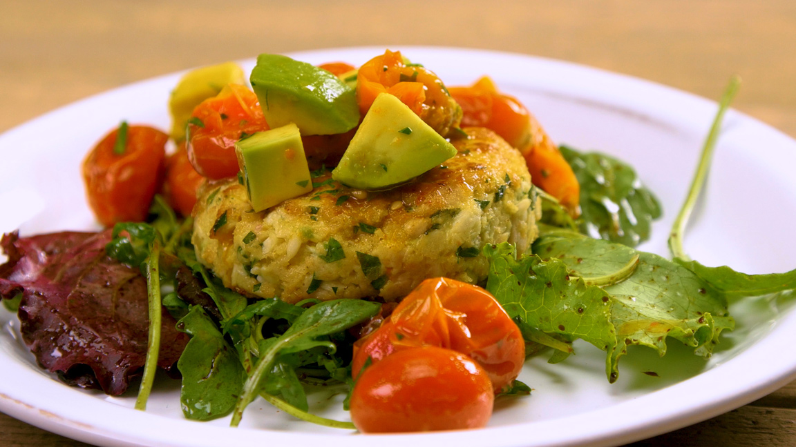 Tilapia Fish Cakes with Avocado and Roasted Tomato Salsa