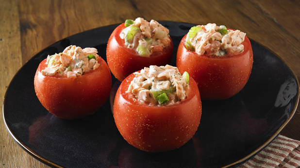 Tomato Stuffed with Dill Salmon Salad