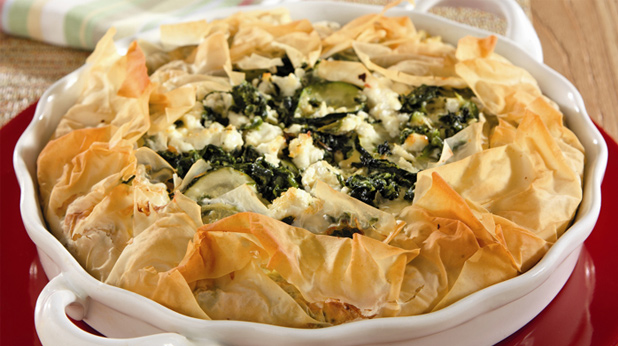 Vegetable and Goat Cheese Phyllo Pie