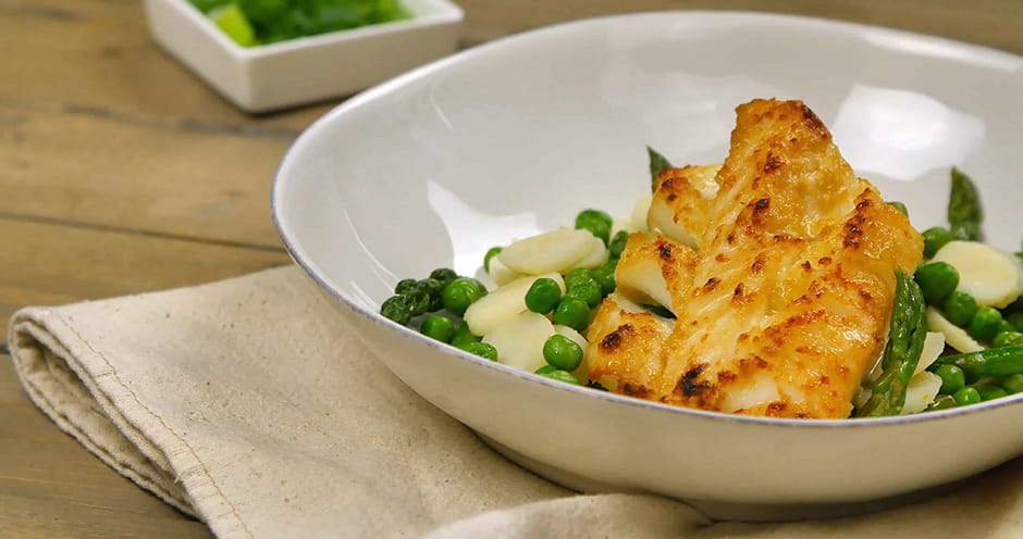 Vietnamese Broiled Cod with Asparagus Peas and Water Chestnuts Stir Fry