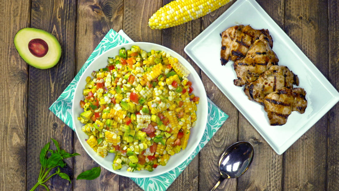 Vietnamese Marinated Grilled Chicken with Corn & Avocado Salad