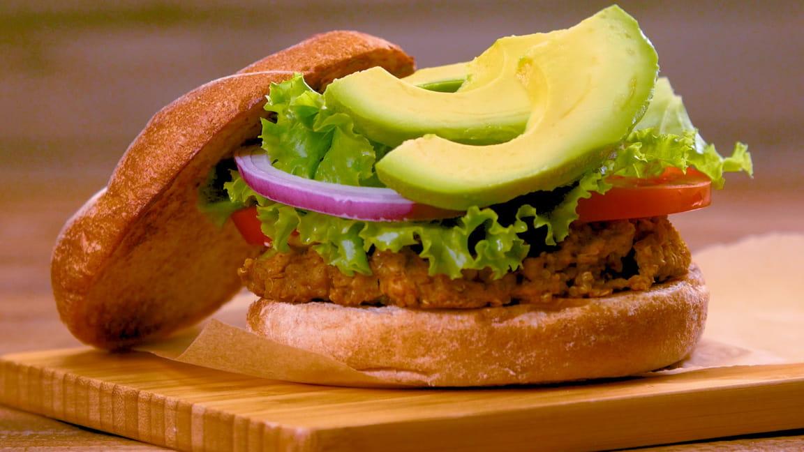 White Bean and Quinoa Burgers with Avocado and Sriracha Mayo