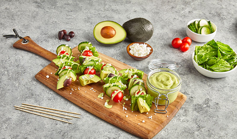 Avocados From Mexico Greek Goddess Salad on a Stick with Avo Mediterranean Greek Dressing recipe