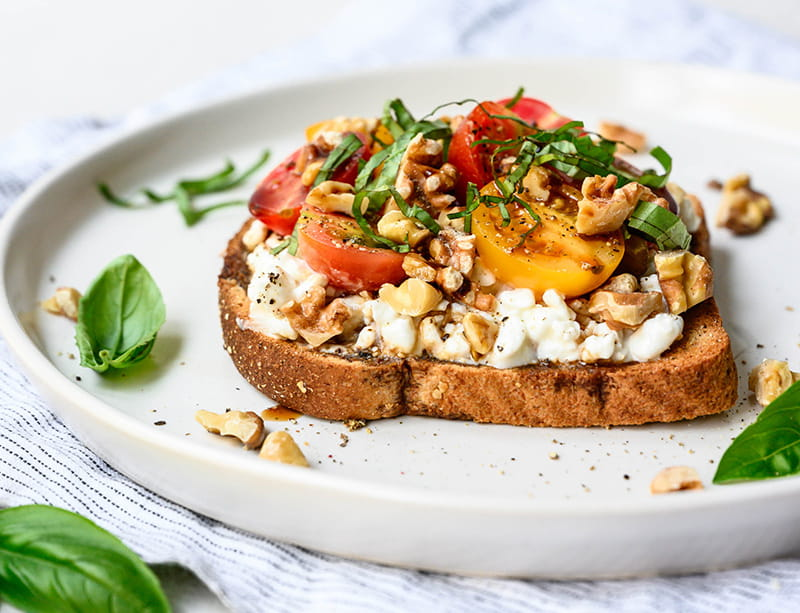 Cottage Cheese Walnut Caprese Toast