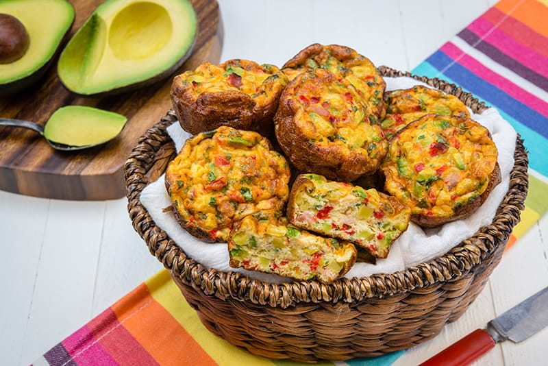 Hass Avocado Board Fiesta Chile and Avocado Mini Frittatas