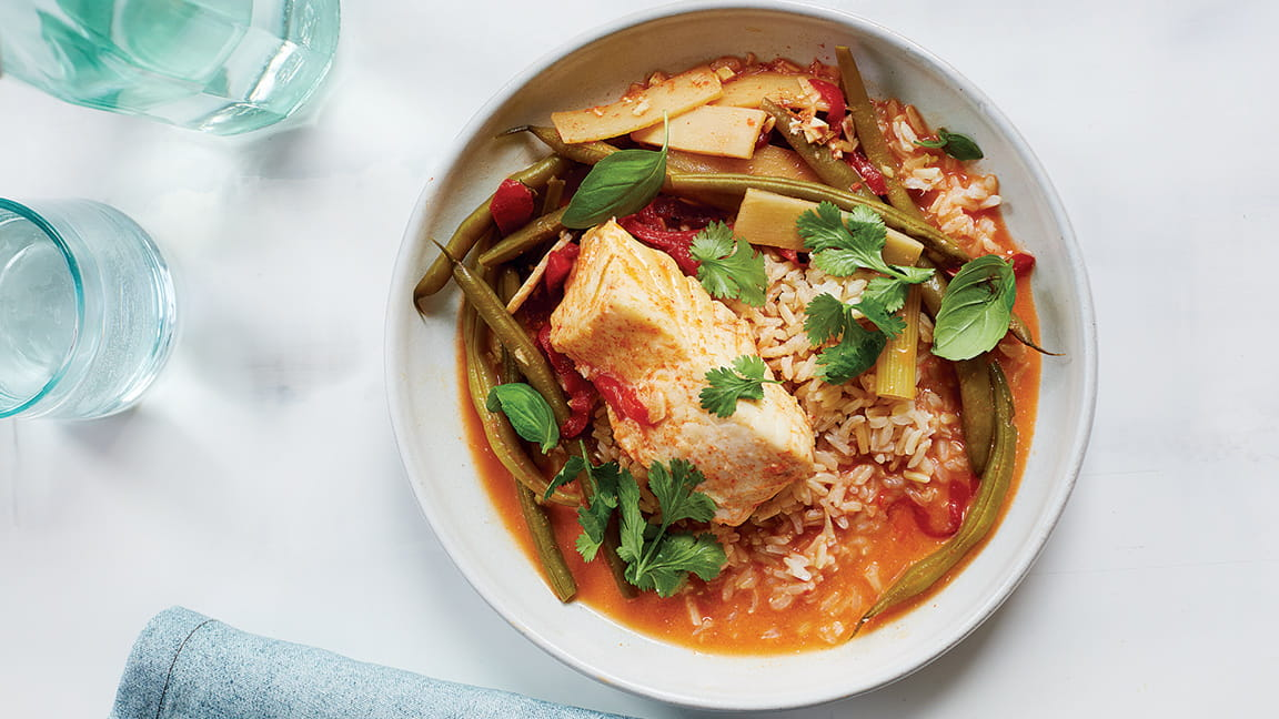 Coconut Curry Halibut with Green Beans and Roasted Red Bell Peppers