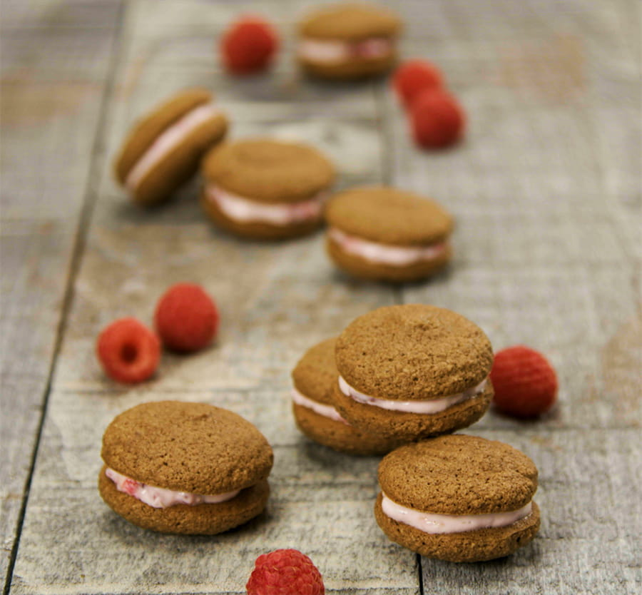 raspberry mini chocolate macaroons